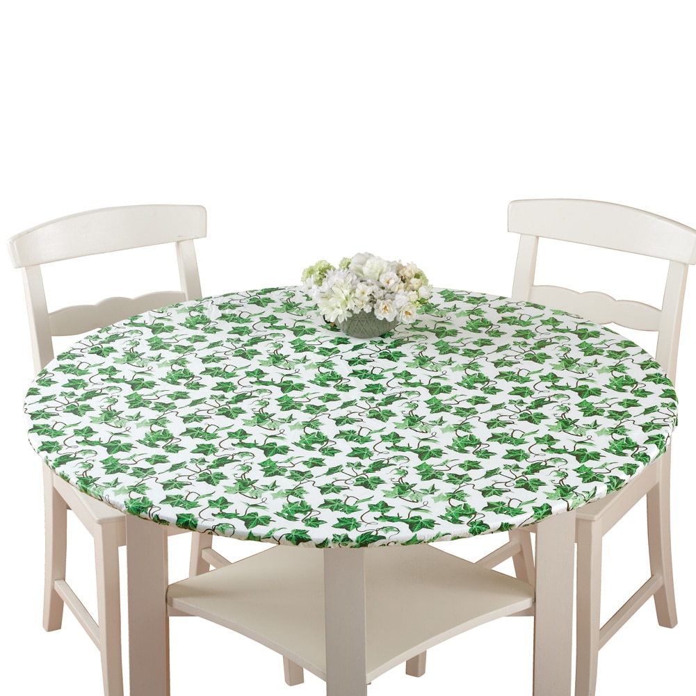 Collections Etc. Patterned Fitted Table Cover with Soft Flannel Backing and Durable Wipe-Clean Vinyl Construction, Oval, Ivy