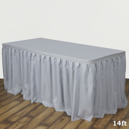 Efavormart Accordion Pleat Wholesale Polyester Table Skirt for Kitchen Dining Catering Wedding Birthday Party Decorations Events (Party City Table Skirts)