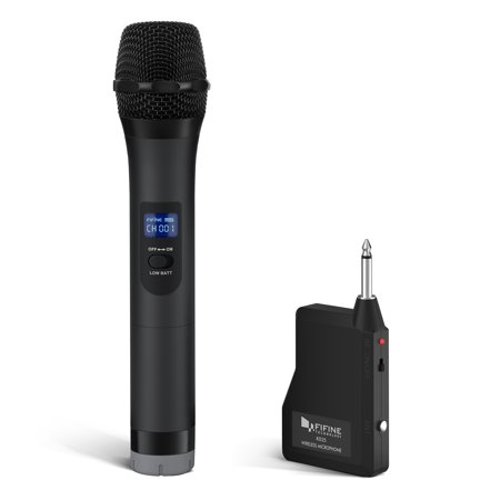 Fifine Wireless microphone,Handheld Dynamic Microphone Wireless mic System for Karaoke Nights and House Parties Over the Mixer,PA (Night Vision Wireless Microphone)