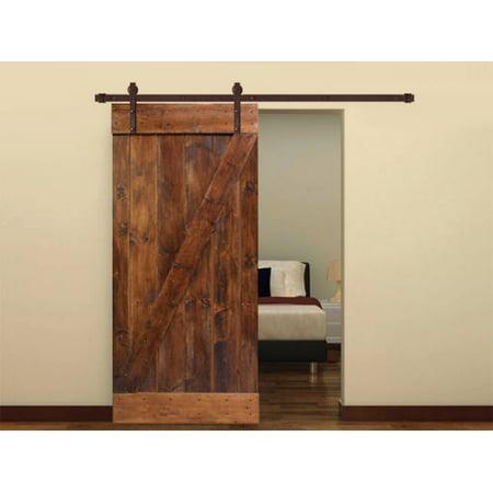 Dark Coffee Knotty Pine Sliding Barn Wood Interior Door Slab With 6 Ft Hardware Kit