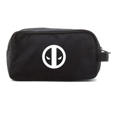Deadpool Logo Canvas Dual Two Compartment Travel Toiletry Dopp Kit Bag