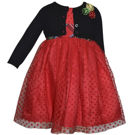 Polka Dot Mesh Overlay Holiday Dress With Sweater Shrug (Baby Girls & Toddler Girls) - Girls Velvet Shrug