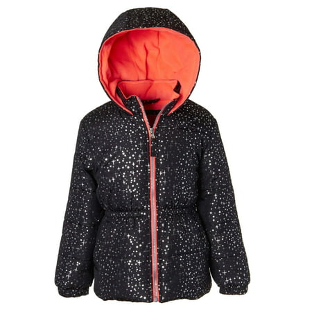 Pink Platinum Foil Printed Hooded Puffer Jacket (Little Girls & Big - Light Pink Coat