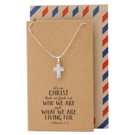 Quan Jewelry Cross Pendant Necklace for Women Silver Tone, Gifts for Women, Cubic Zirconia, Rhodium Plated