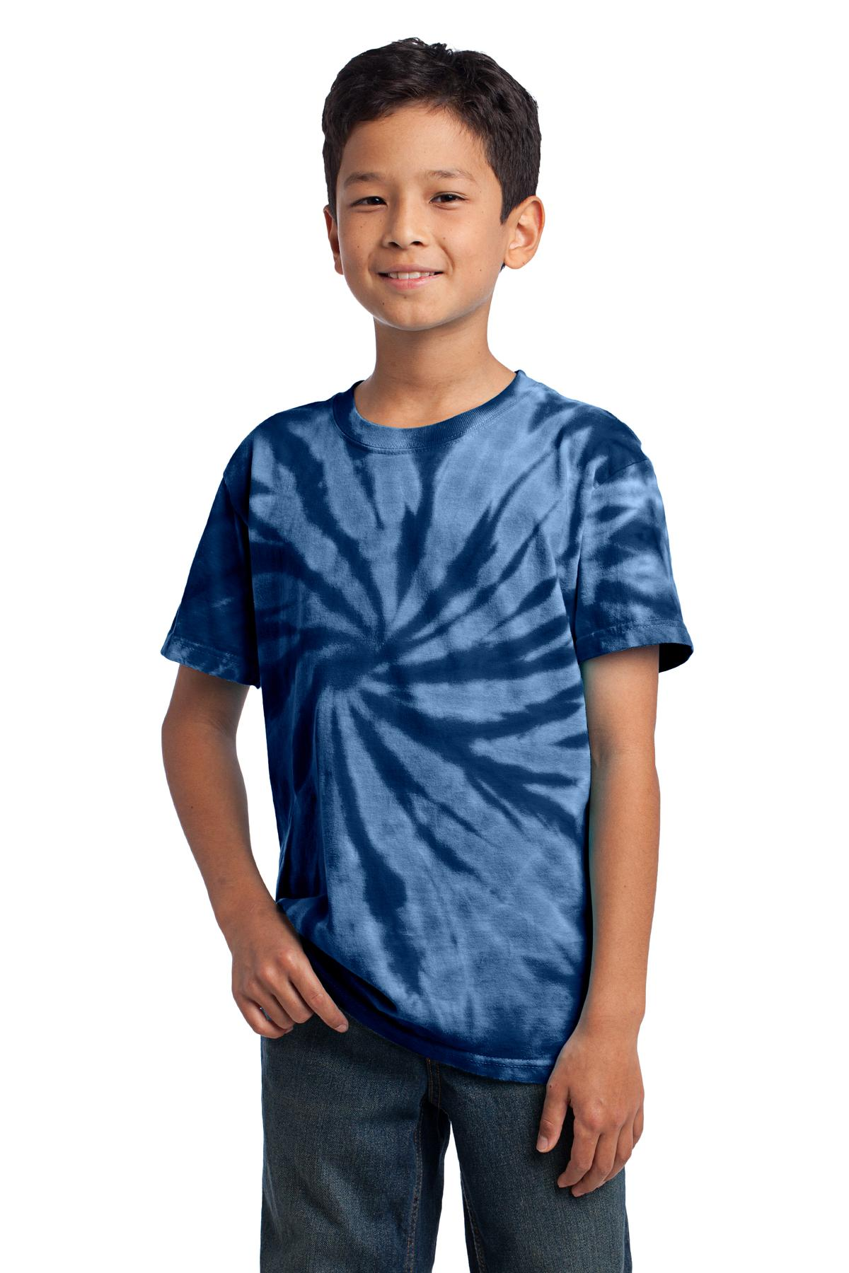 Port & Company Youth Tie-Dye Tee. Turquoise. M.