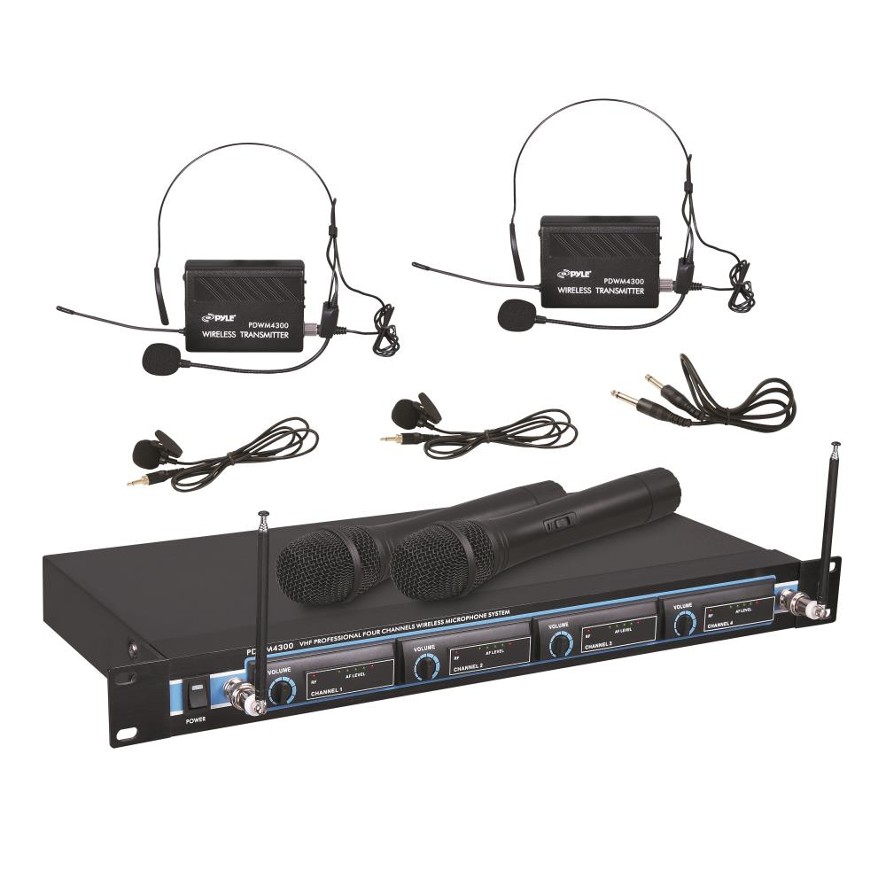 Pyle PDWM4300 - VHF Wireless Rack Mount Microphone System with (2) Handheld Mics, (2) Belt Pack Transmitters, (2) Lavalier & (2) Headset Mics