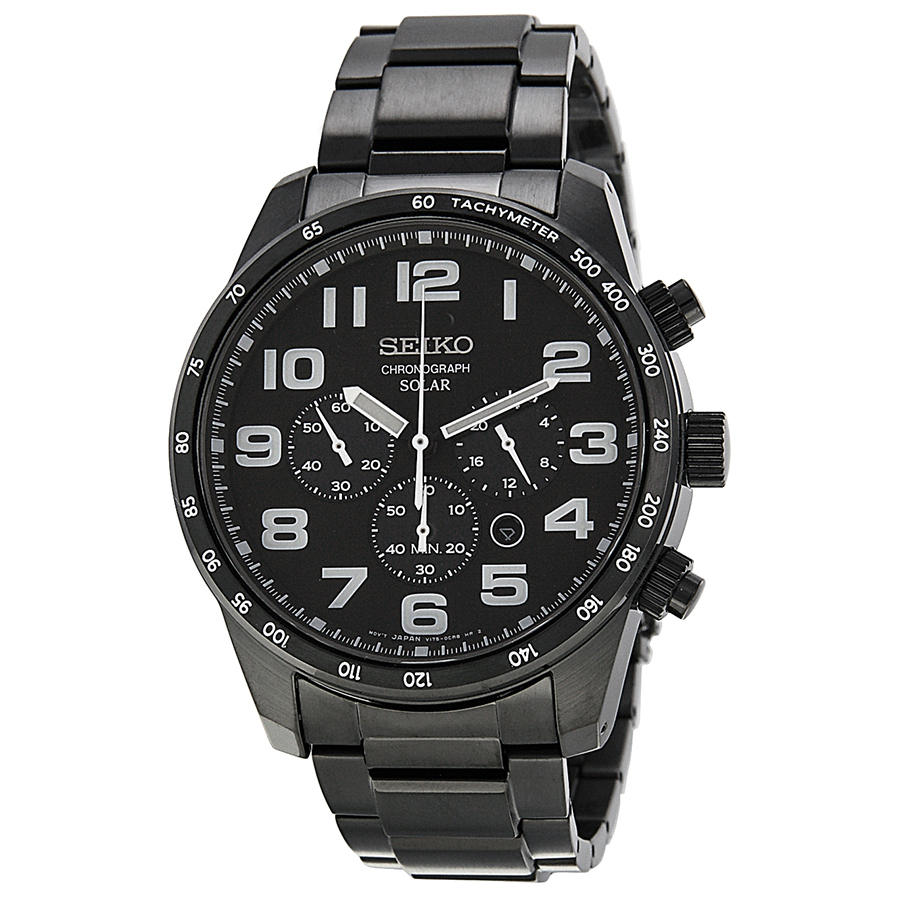 Seiko Chronograph Black Dial Black Ion-plated Stainless Steel Mens Watch SSC231