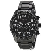 Seiko Men's Chronograph Black Dial Black Ion-plated Stainless Steel Watch SSC231
