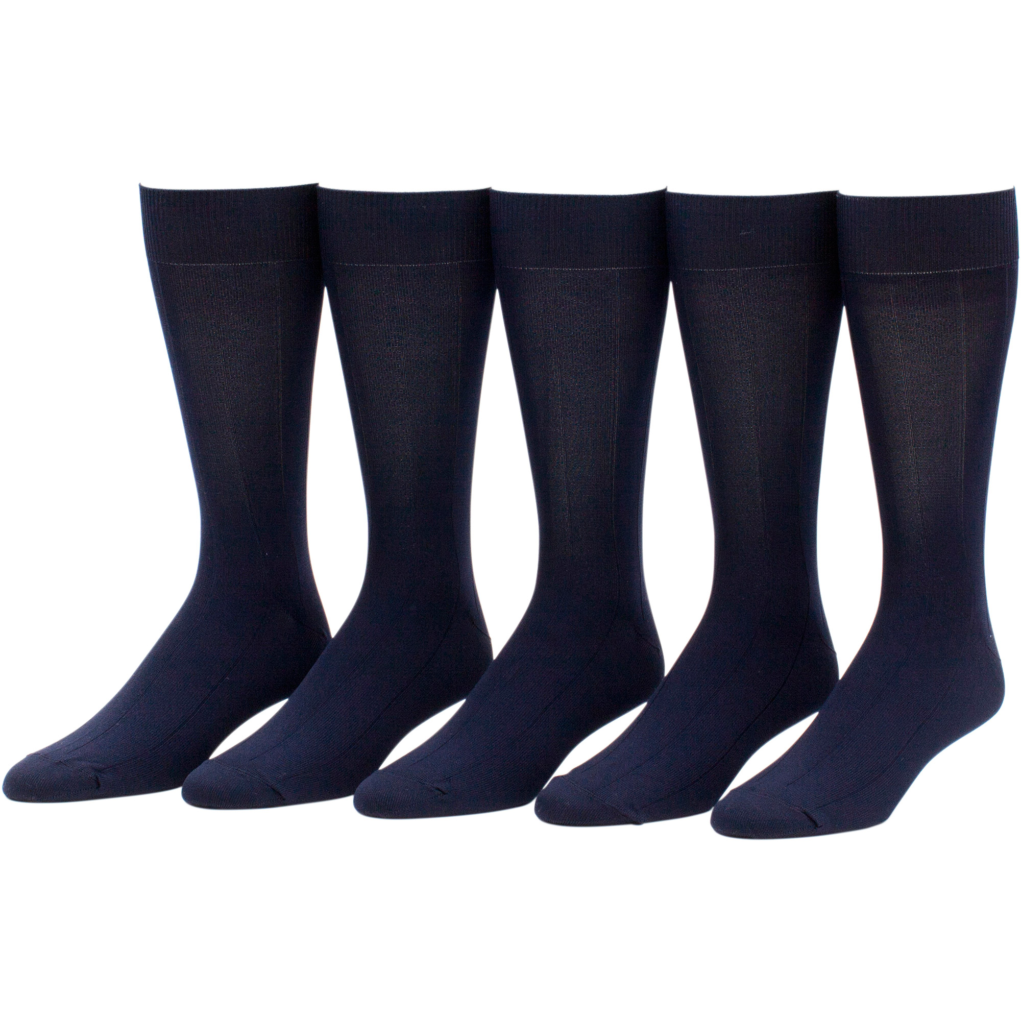 George Men's Nylon Ribbed Crew Socks, 5 Pairs