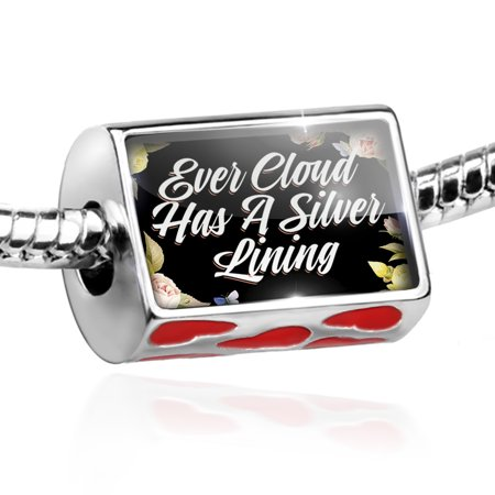Bead Floral Border Ever Cloud Has A Silver Lining Charm Fits All European Bracelets - Floral Beads