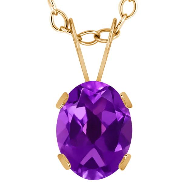 1.10 Ct Oval Purple Amethyst 14K Yellow Gold Pendant