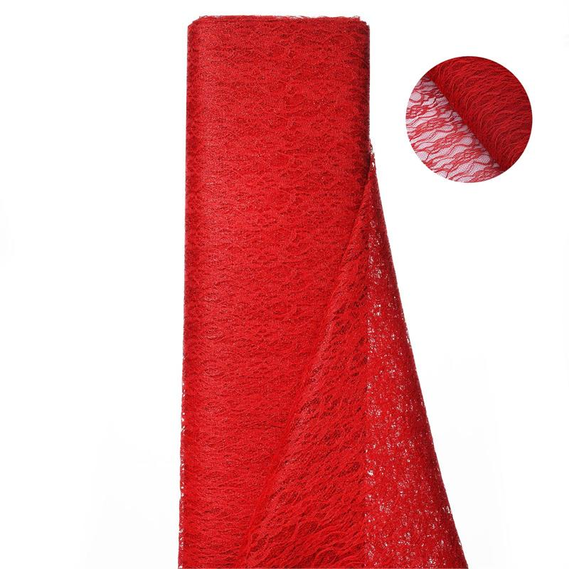 54 inch x 15 yards Glittered Lace Fabric Bolt - Red