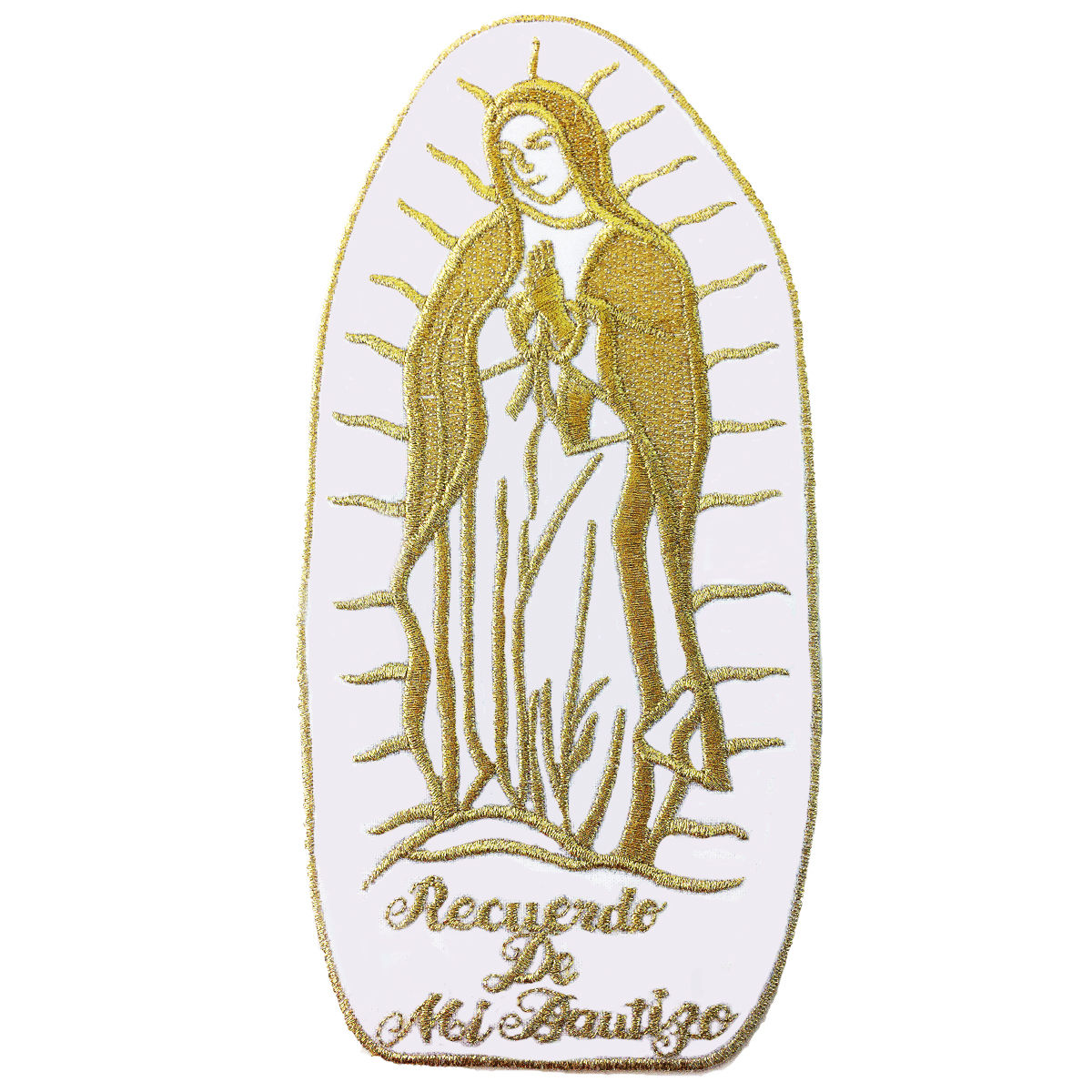 CF3884 Christening Baptism Gifts Guadalupe Virgin Mary Embroidered Iron On Patch