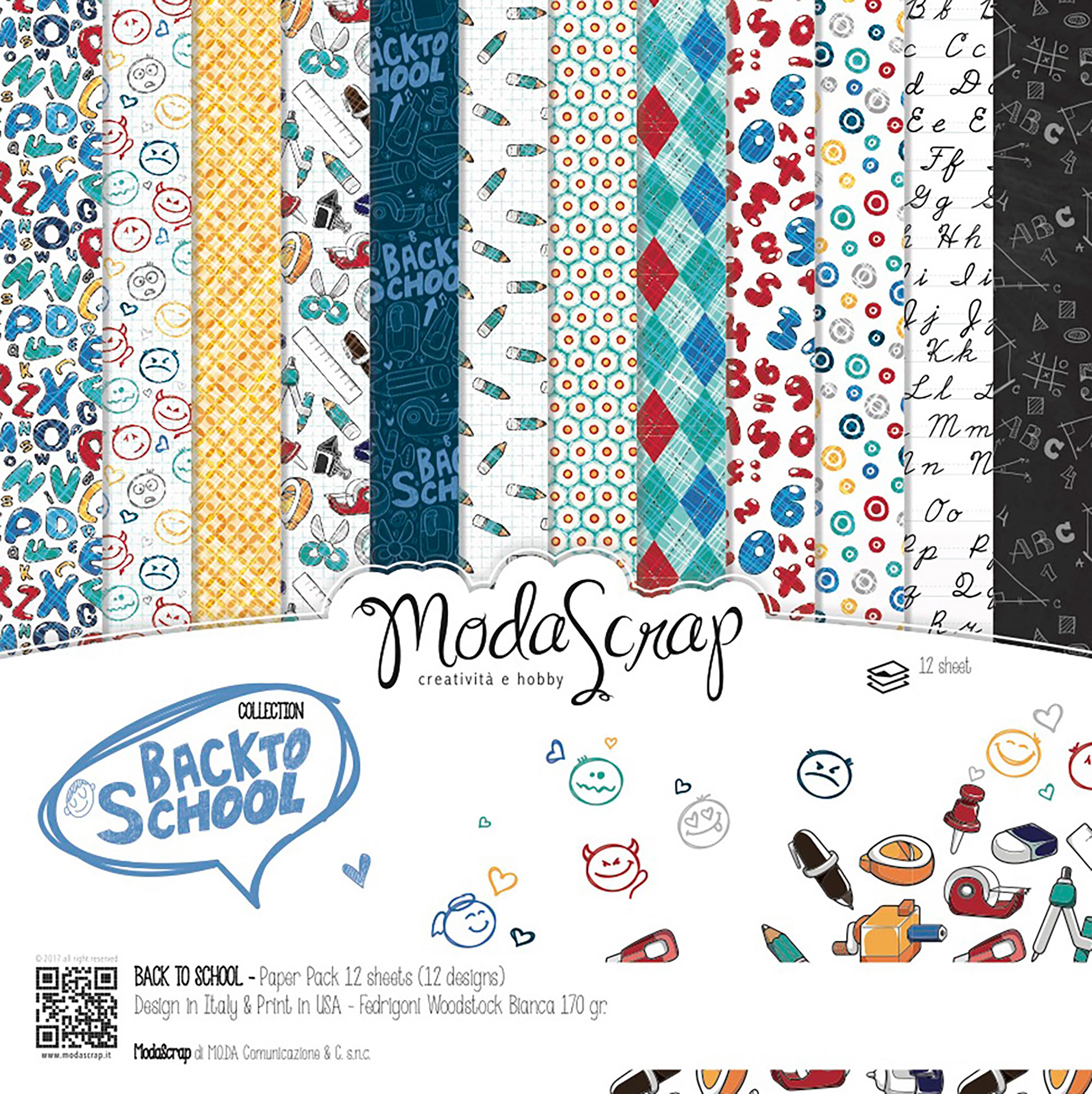 "Elizabeth Craft ModaScrap Paper Pack 6""X6"" 12/Pkg-Back To School"