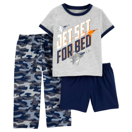Short Sleeve T-Shirt, Shorts, and Pants Pajama Set, 3 piece set (Toddler - Skeleton Pyjamas Boys