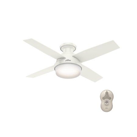 Hunter 44 Dempsey Low Profile With Light Fresh White Ceiling Fan Handheld Remote