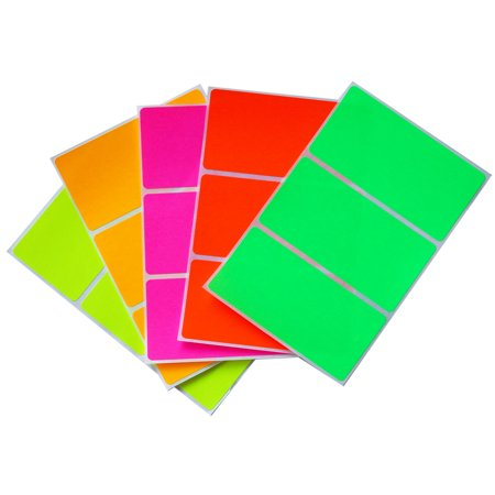 Moving labels in 5 assorted neon colors 4 x 2 colored stickers (102 mm x 51 mm) - 30 Pack by Royal Green … (Colored Stickers)