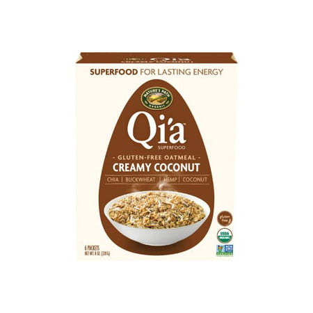 Qi'a Creamy Coconut Instant Oatmeal, Gluten-Free Hot Cereal, 6 Packets - Instant Oatmeal Hot Cereal