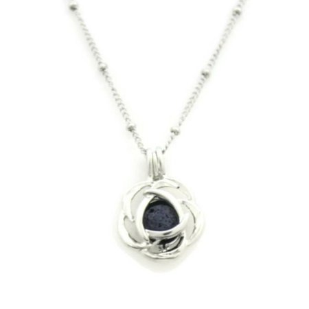 Blossom Rose Silver Essential Oil Diffuser Necklace- 18