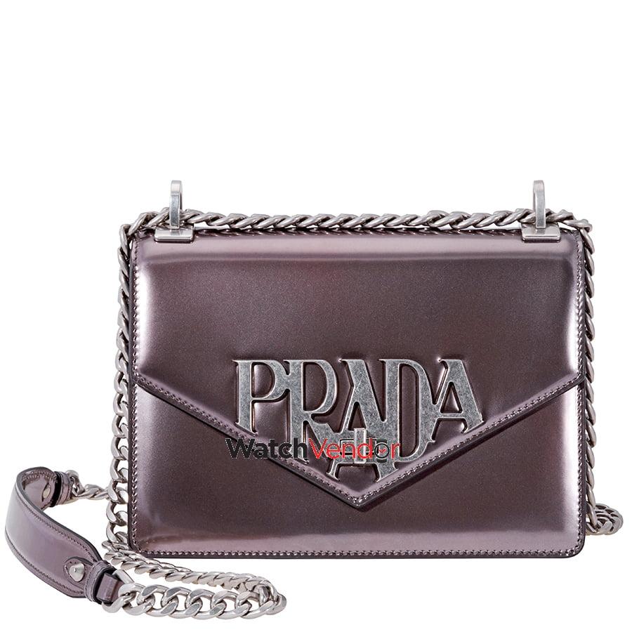 cc4dc2f135 ... new zealand prada leather crossbody bag glossy grey bced6 279dc