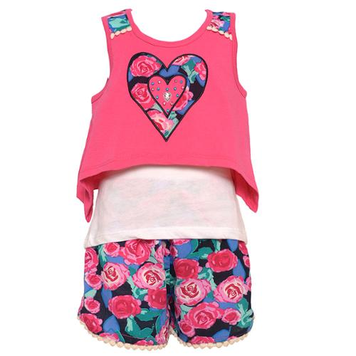 Little Girls Fuchsia Floral Heart In Heart Applique Tank Top Shorts Outfit 4-6X