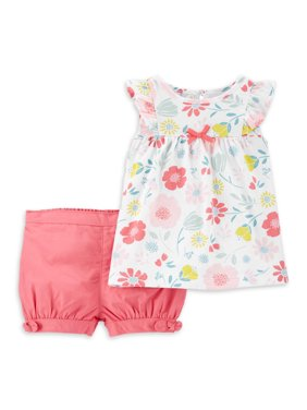 Child of Mine by Carter's Baby Girl Floral Shirt & Shorts Outfit, 2pc Set