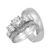 His and Hers CZ Wedding Ring Set Matching Trio Wedding Bands for Him (Titanium) and Her (Sterling Silver) (5/10)