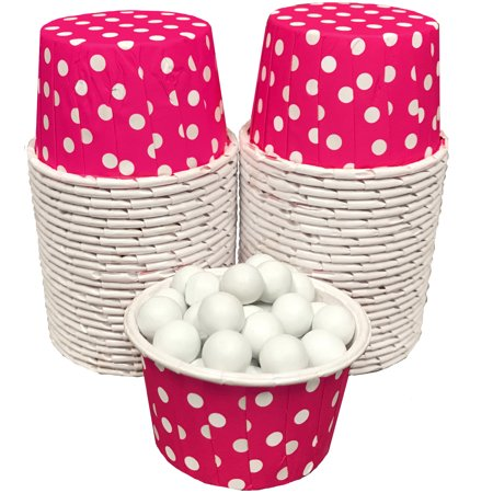 Hot Pink and White Polka Dot Candy/Nut  Paper Baking Cups 48 Pk (Pink And White Polka Dot Paper)