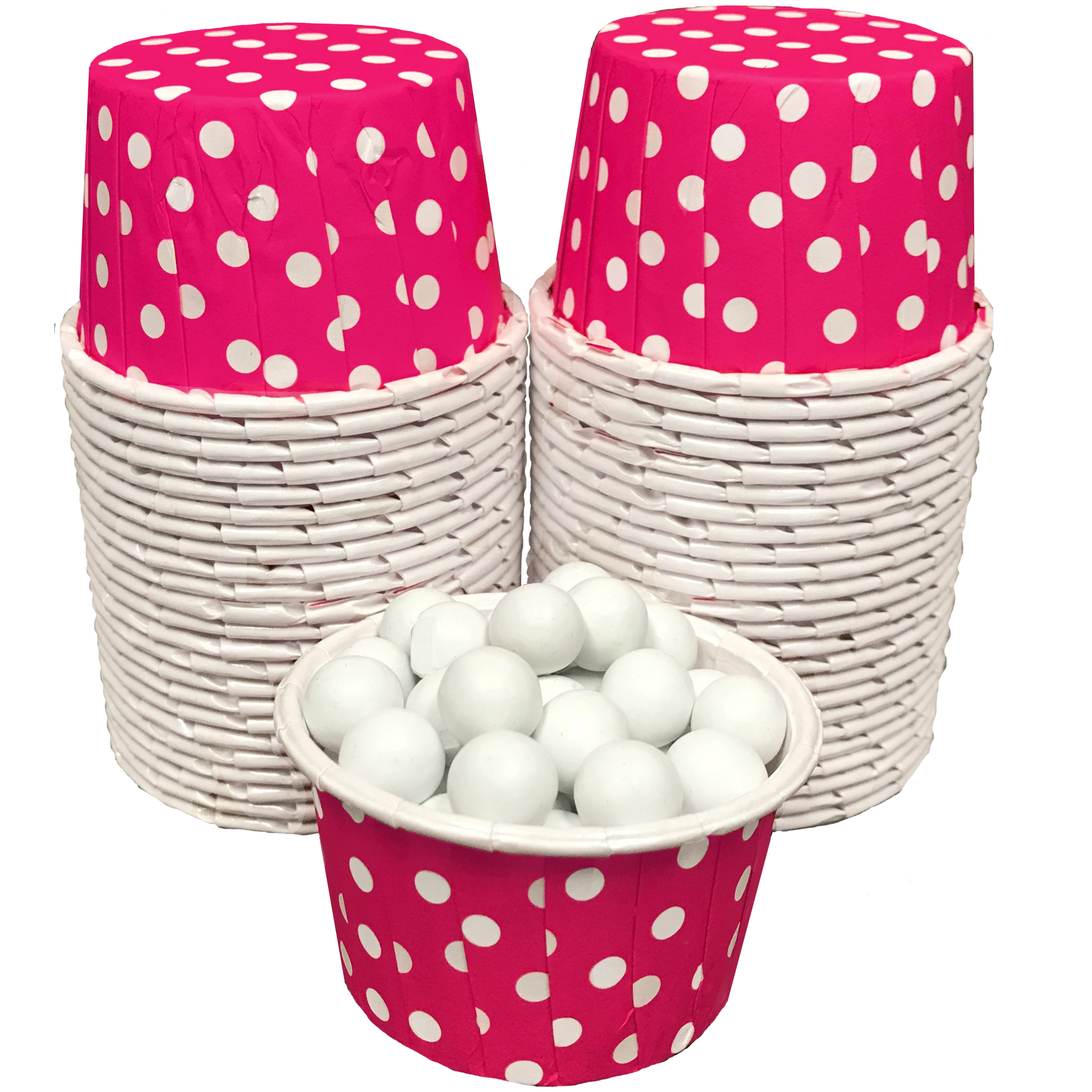 Hot Pink and White Polka Dot Candy/Nut  Paper Baking Cups 48 Pk