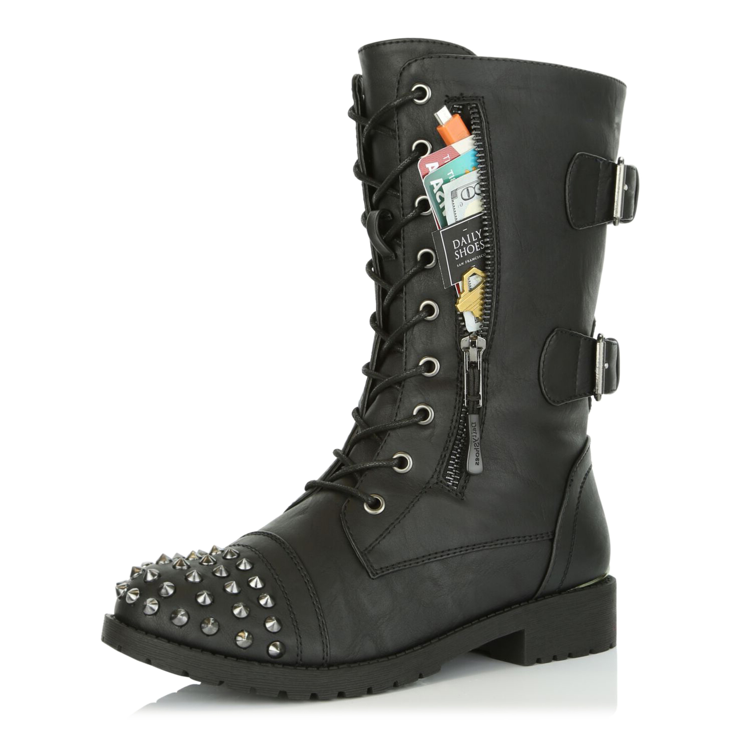 WOMENS LADIES SPIKE STUDS ANKLE BOOTS BIKER LACE UP ZIP PUNK WOMEN ANKLE SHOES
