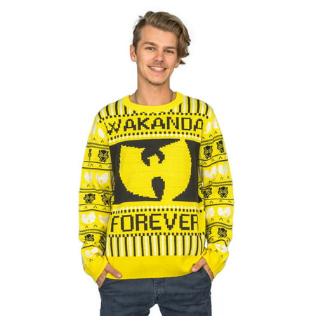Marvel Comics Black Panther Wakanda Forever Wu Tang Ugly Christmas Sweater (Grinch Christmas Sweater)
