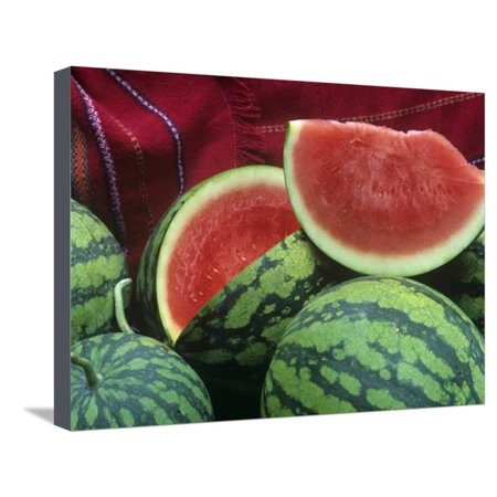 Seedless Watermelon, Deuce of Hearts Hybrid Triploid Variety Stretched Canvas Print Wall Art By David