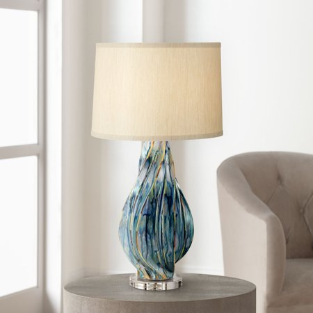 Possini Euro Design Modern Table Lamp Ceramic Hand Painted Teal Drip Beige Fabric Drum Shade for Living Room Family Bedroom (Hand Painted Drum Table)