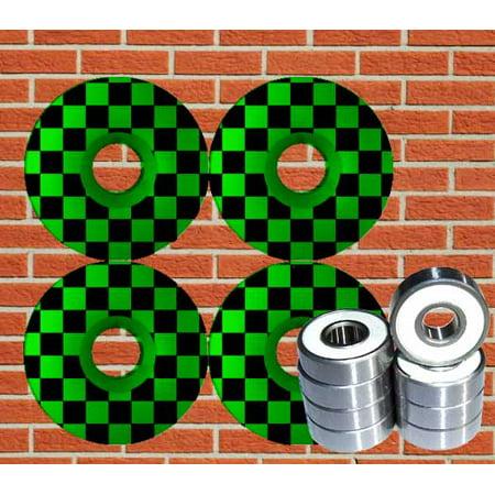 Checker Skateboard Wheels W/ ABEC 9 Bearings 52mm GREEN