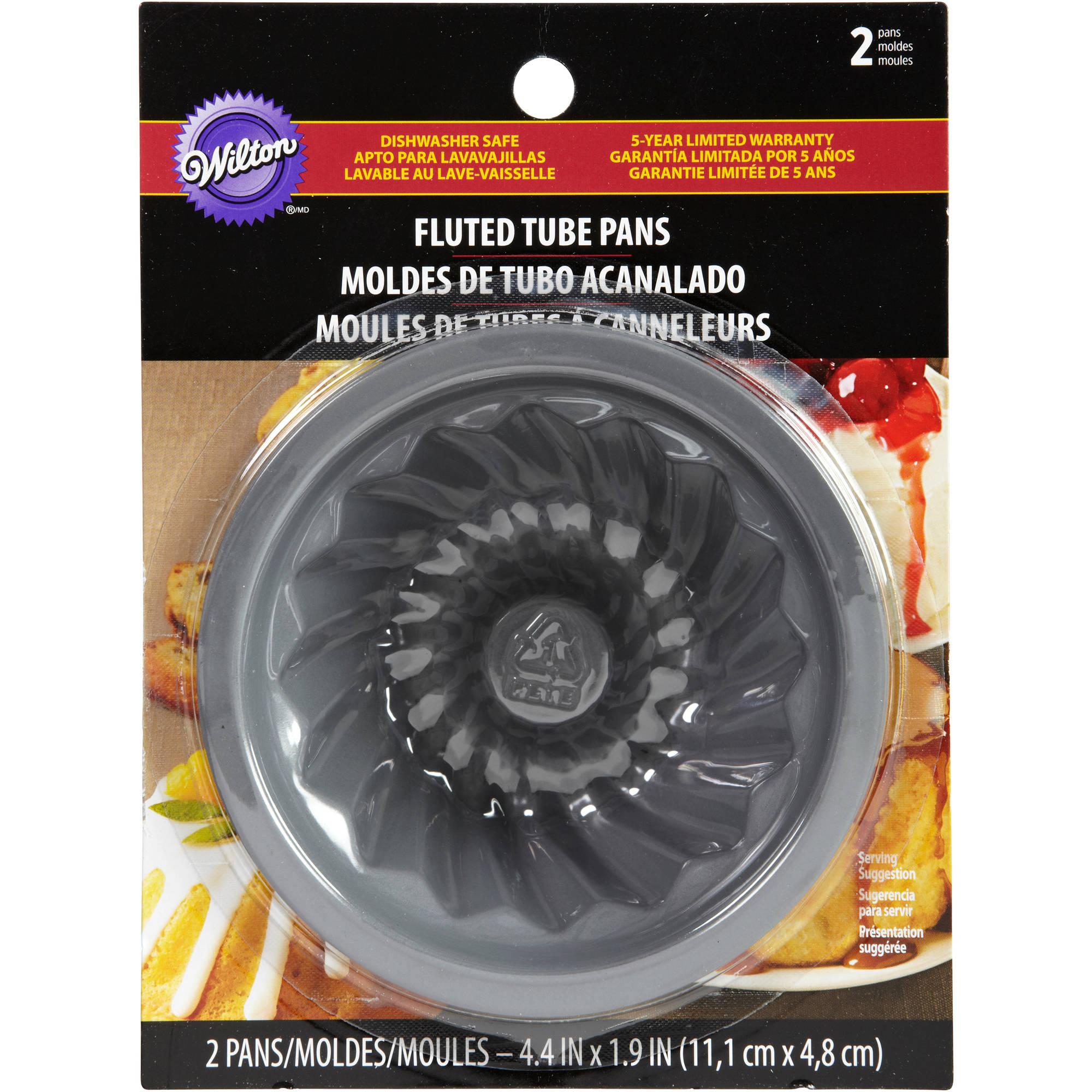 """Fluted Tube Cake Pans 2/pkg-4-3/8""""x1-7/8"""