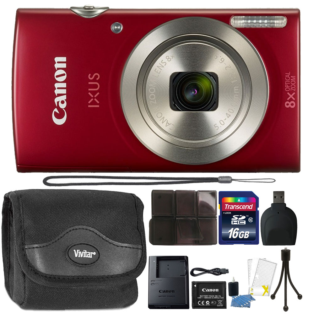 Canon PowerShot IXUS 185 / Elph 180 20MP Compact Digital Camera Red with Top Accessory Bundle