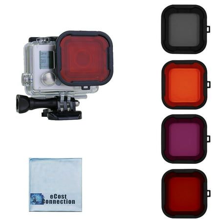 eCostConnection Filter Kit for GoPro HERO3+, HERO4 (Standard Housing), HERO4/HERO5 Session Cameras. Red, Purple, Orange. Gray Colors. Scuba Green Water, Scuba Tropical Water, ND & Warming Filters (Camera Housing Light)