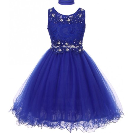 Embroidered Design Rhinestone Princess Little Flower Girls Dresses Royal 4 Size