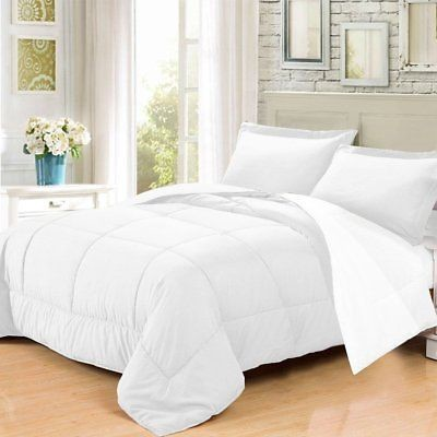 3 PC Goose Down Alternative Reversible Comforter Sham White Beige Twin
