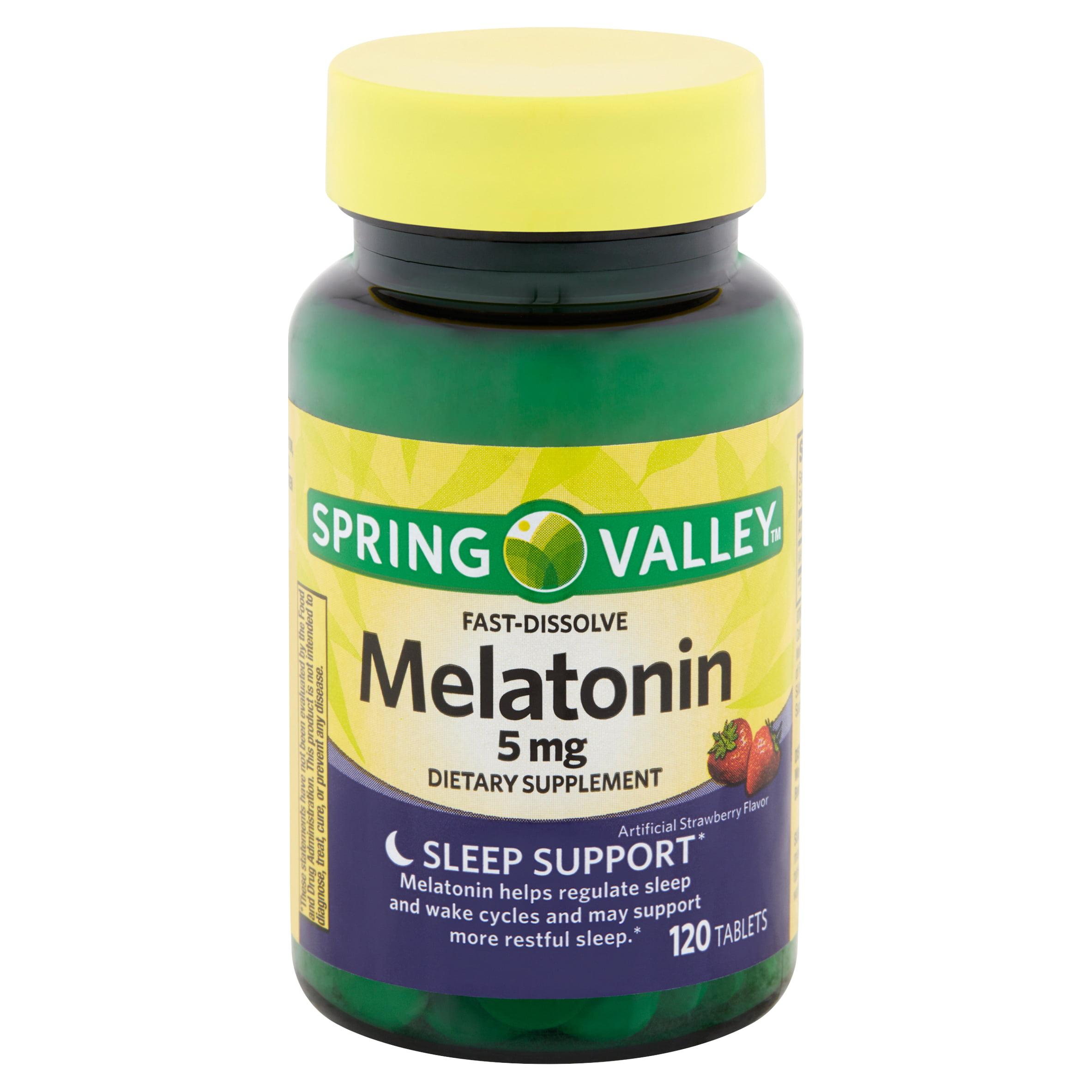 Spring Valley Fast-Dissolve Melatonin Tablets, 5 mg, 120 count