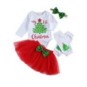 Xingqing Christmas Newborn Baby Girl Clothes Long Sleeve Letter Santa Claus Tree Print Romper Tops Skirt Headband Leg Warmer 5pcs Outfits 0-3 Months