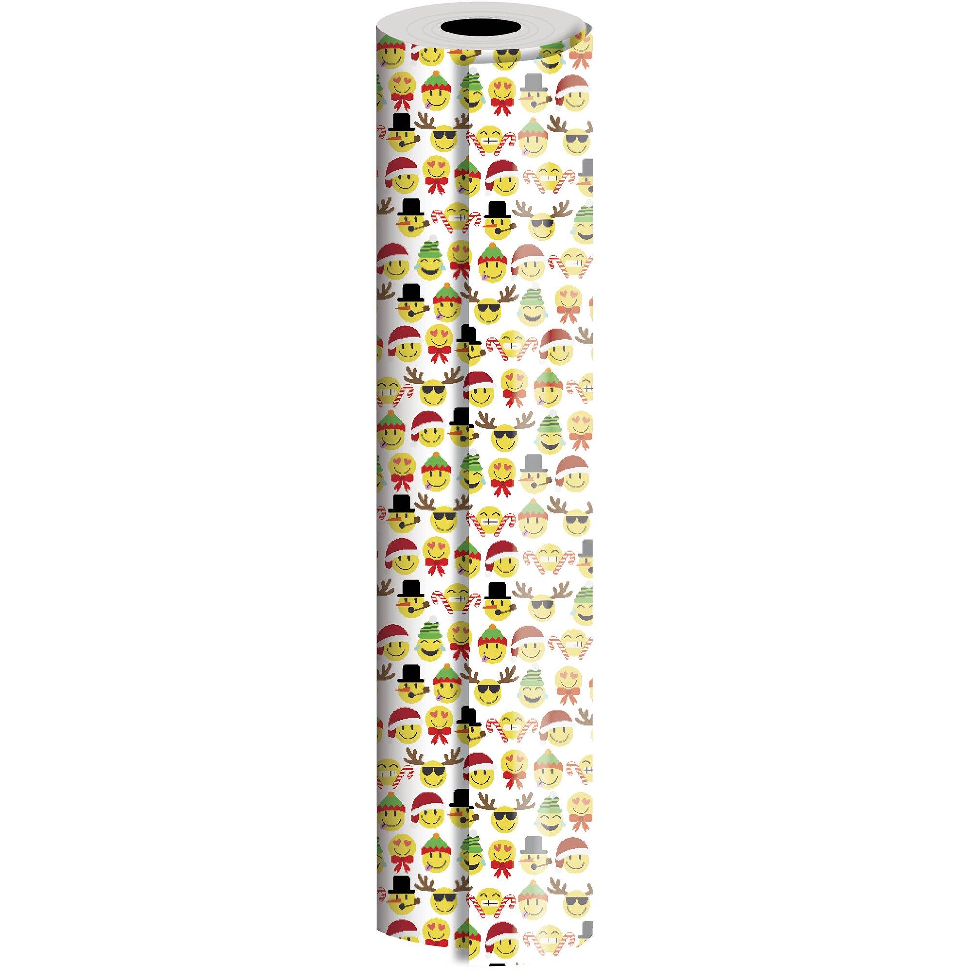 "Jillson & Roberts Bulk Gift Wrap, Emoji Christmas, Full Ream 833' x 24"""