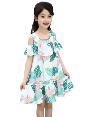 9ed85927140 Product Image Kids Baby Girls Summer Floral Beach Boho Dresses Sleeveless  Ruffle Sundress