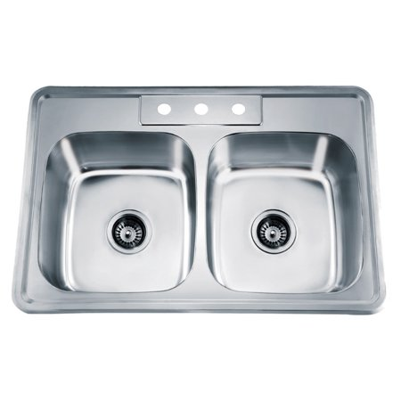 Dawn® Top Mount Equal Double Bowl Sink With Three Pre-cut Faucet Holes