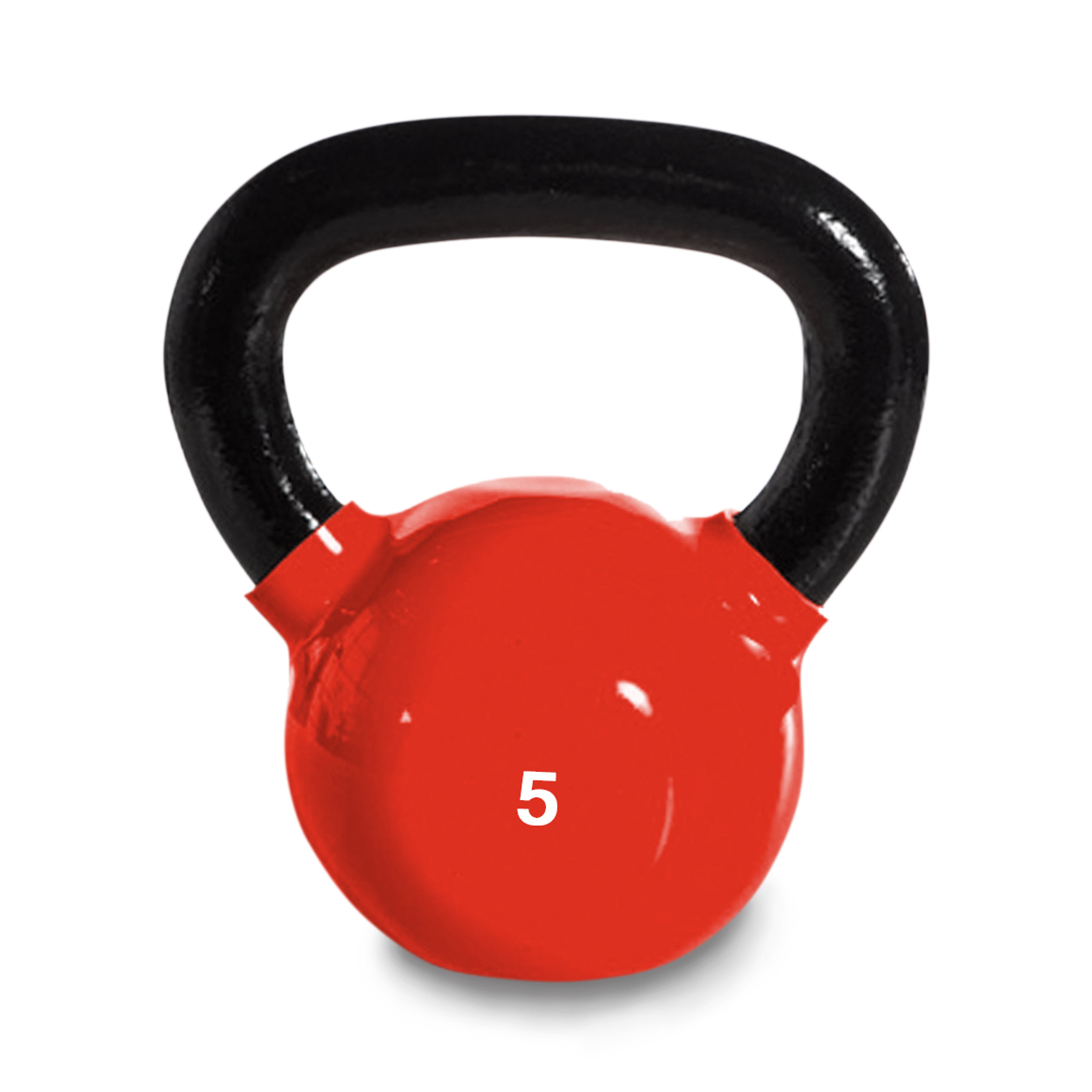 Harvil 5-Pound Cast Iron Red Kettlebell Weight with Ergonomically Rounded Handles and Pound Markings.