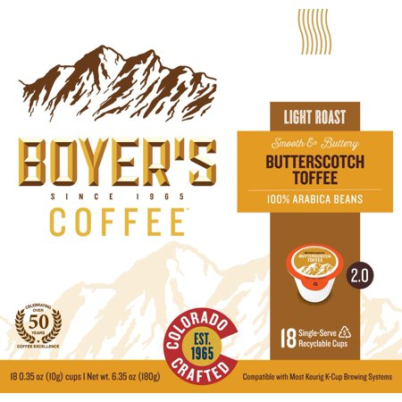 Boyer's Butterscotch Toffee Single Serve Coffee, 18 (Hot Toffee)