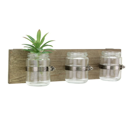Rustic Multifunctional Natural Wood Hanging Wall Decor with 3 Glass Jar Containers