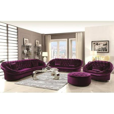 A line furniture xnron cradle design purple velvet tufted for Purple living room furniture
