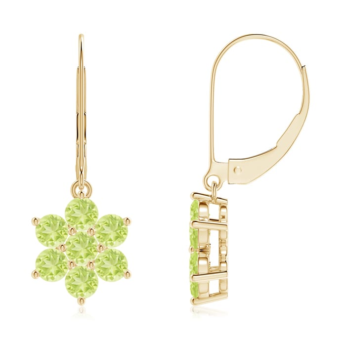 Angara Round Peridot Floral Cluster Dangle Earrings