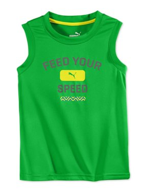 Puma Boys Core Muscle Tank Top, Green, 4T